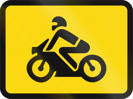 Temporary road sign used in the African country of Botswana - The primary sign applies to motorcycles.