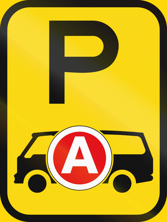 on temporary: Temporary road sign used in the African country of Botswana - Parking for ambulances  emergency vehicles.