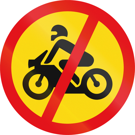 Temporary road sign used in the African country of Botswana - Motorcycles prohibited.