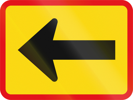 roadworks: Temporary road sign used in the African country of Botswana - The primary sign applies to the left.