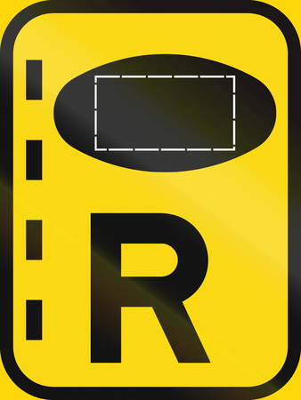 on temporary: Temporary road sign used in the African country of Botswana - Reserved lane for authorised vehicles.