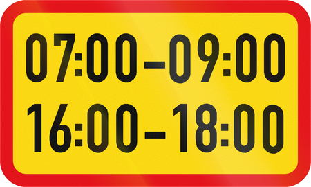 temporary: Temporary road sign used in the African country of Botswana - The primary sign applies during the specified hours.
