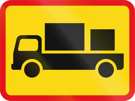 roadworks: Temporary road sign used in the African country of Botswana - The primary sign applies to delivery vehicles.