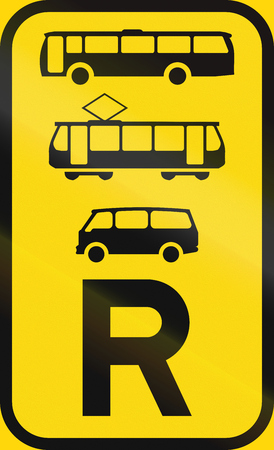 r transportation: Temporary road sign used in the African country of Botswana - Reservation for buses, trams and mini-buses.