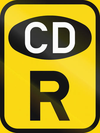 cd r: Temporary road sign used in the African country of Botswana - Reservation for diplomatic vehicles. Stock Photo