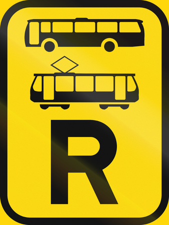 r transportation: Temporary road sign used in the African country of Botswana - Reservation for buses and trams.