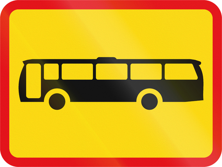 temporary: Temporary road sign used in the African country of Botswana - The primary sign applies to buses. Stock Photo