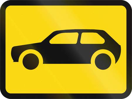 motorcars: Temporary road sign used in the African country of Botswana - The primary sign applies to motorcars. Stock Photo