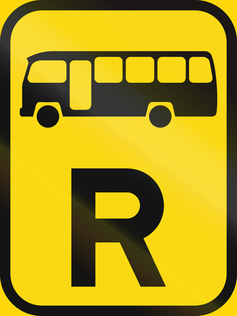 r transportation: Temporary road sign used in the African country of Botswana - Reservation for midi-buses.