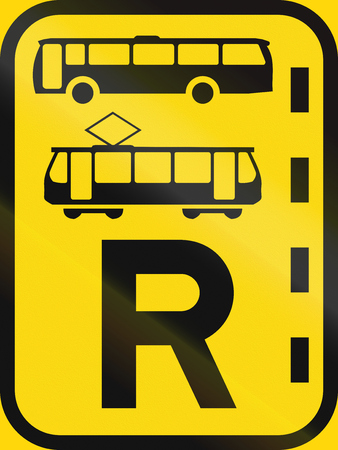 r transportation: Temporary road sign used in the African country of Botswana - Reserved lane for buses and trams.