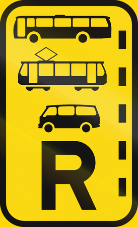 r regulation: Temporary road sign used in the African country of Botswana - Reserved lane for buses, trams and mini-buses.