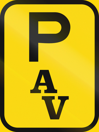 on temporary: Temporary road sign used in the African country of Botswana - Parking for abnormal vehicles.