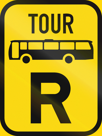 r transportation: Temporary road sign used in the African country of Botswana - Reservation for tour buses.