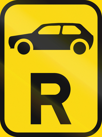 r transportation: Temporary road sign used in the African country of Botswana - Reservation for motorcars. Stock Photo