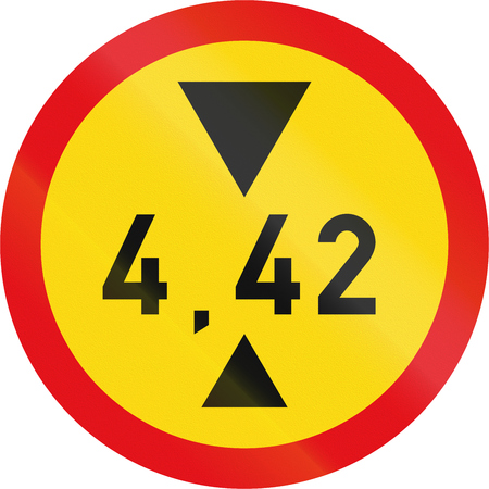 exceeding: Temporary road sign used in the African country of Botswana - Vehicles exceeding 4.42 metres in height prohibited.