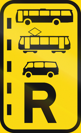 r transportation: Temporary road sign used in the African country of Botswana - Reserved lane for buses, trams and mini-buses.