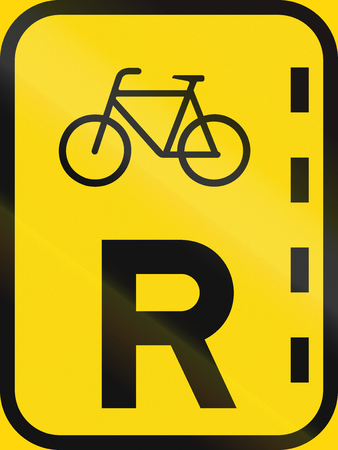 r regulation: Temporary road sign used in the African country of Botswana - Reserved lane of bicycles. Stock Photo