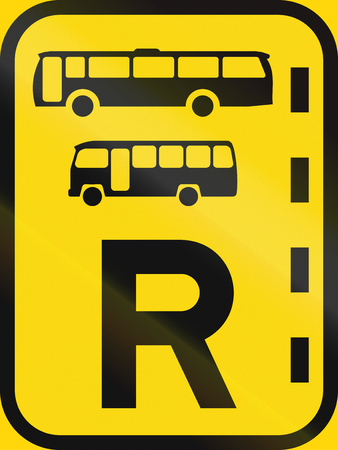 on temporary: Temporary road sign used in the African country of Botswana - Reserved lane for buses and midi-buses. Stock Photo