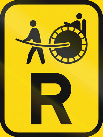 r regulation: Temporary road sign used in the African country of Botswana - Reservation for rickshaws.