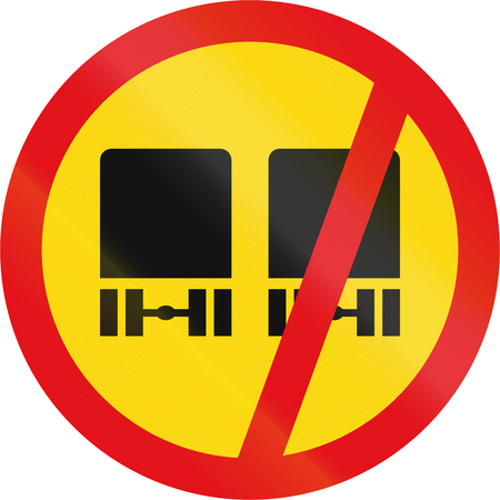 overtaking: Temporary road sign used in the African country of Botswana - Overtaking prohibited for heavy vehicles.