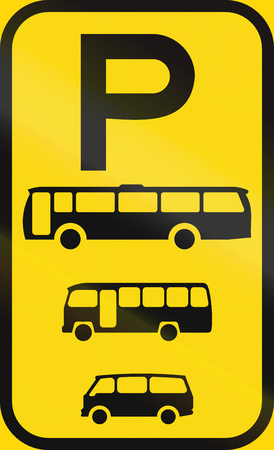 temporary: Temporary road sign used in the African country of Botswana - Parking for buses, midi-buses and mini-buses. Stock Photo