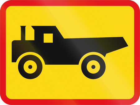 roadworks: Temporary road sign used in the African country of Botswana - The primary sign applies to construction vehicles.