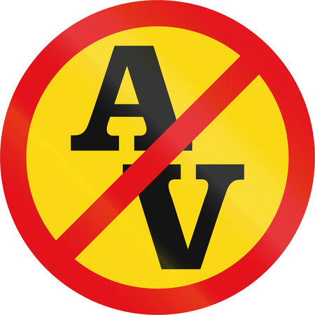 roadworks: Temporary road sign used in the African country of Botswana - Abnormal vehicles prohibited. Stock Photo