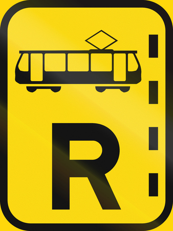 r regulation: Temporary road sign used in the African country of Botswana - Reserved lane for trams. Stock Photo
