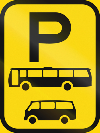 temporary: Temporary road sign used in the African country of Botswana - Parking for buses and mini-buses.
