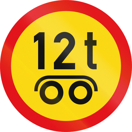 on temporary: Temporary road sign used in the African country of Botswana - Vehicles exceeding 12 tonnes on a tandem axle prohibited. Stock Photo