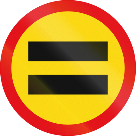 equals: Temporary road sign used in the African country of Botswana - Unauthorised vehicles prohibited.