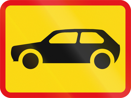 on temporary: Temporary road sign used in the African country of Botswana - The primary sign applies to motorcars. Stock Photo