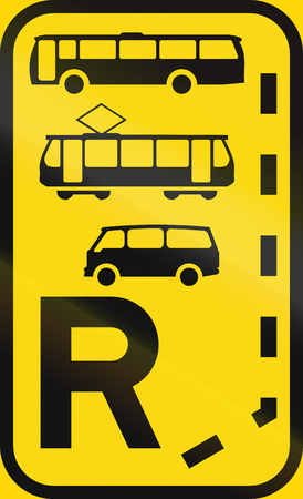 r transportation: Temporary road sign used in the African country of Botswana - Start of a reserved lane for buses, trams and mini-buses.