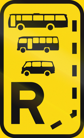 r transportation: Temporary road sign used in the African country of Botswana - Start of a reserved lane for buses, midi-buses and mini-buses.