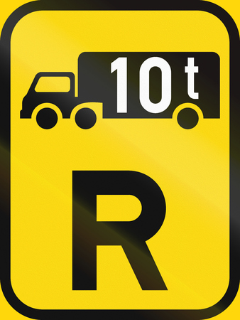 roadworks: Temporary road sign used in the African country of Botswana - Reservation for goods vehicles exceeding 10 tonnes GVM. Stock Photo