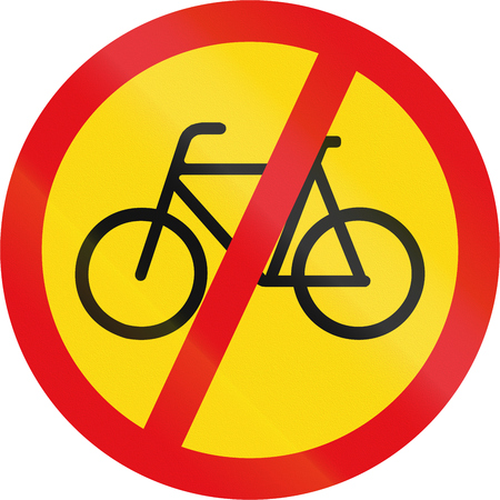 on temporary: Temporary road sign used in the African country of Botswana - Cyclists prohibited.