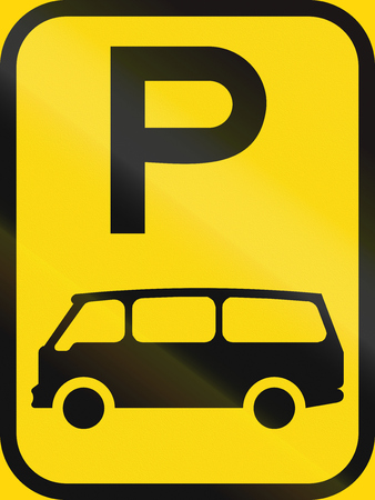 temporary: Temporary road sign used in the African country of Botswana - Parking for mini-buses.