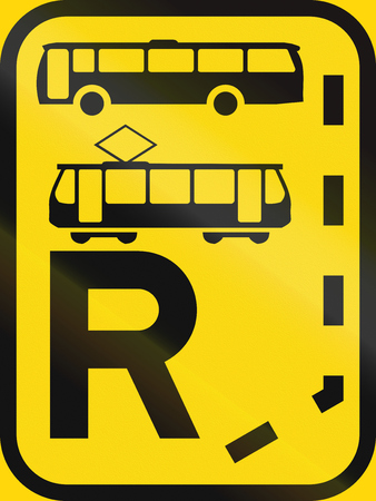 r regulation: Temporary road sign used in the African country of Botswana - Start of a reserved lane for buses and trams. Stock Photo
