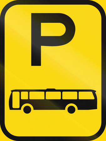 on temporary: Temporary road sign used in the African country of Botswana - Parking for buses.