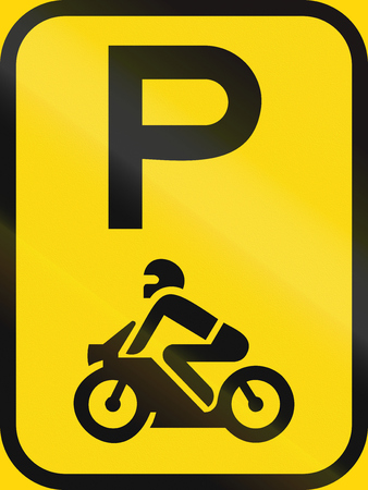 on temporary: Temporary road sign used in the African country of Botswana - Parking for motorcycles.
