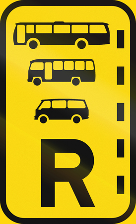 r transportation: Temporary road sign used in the African country of Botswana - Reserved lane for buses, midi-buses and mini-buses.