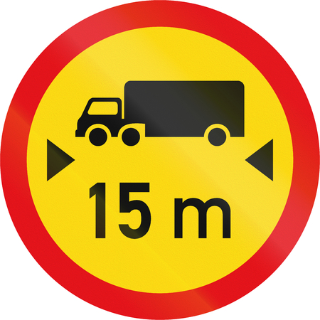 exceeding: Temporary road sign used in the African country of Botswana - Vehicles exceeding 15 metres in length prohibited. Stock Photo