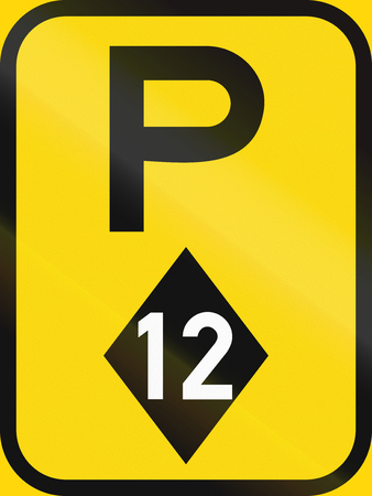 Temporary road sign used in the African country of Botswana - Parking for high-occupancy vehicles.