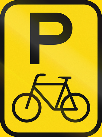 on temporary: Temporary road sign used in the African country of Botswana - Parking of bicycles.
