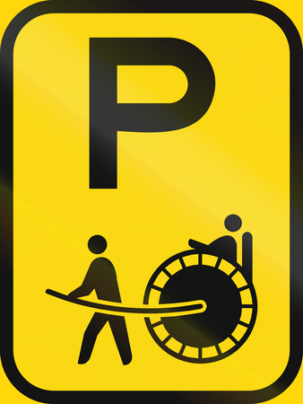 Temporary road sign used in the African country of Botswana - Parking for rickshaws.