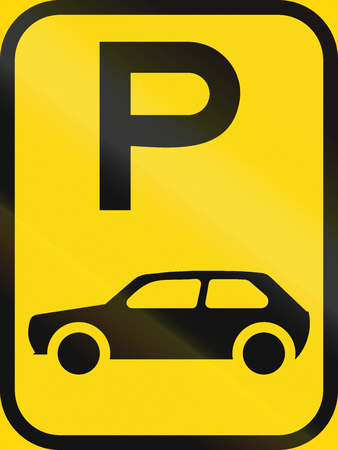 motorcars: Temporary road sign used in the African country of Botswana - Parking for motorcars. Stock Photo