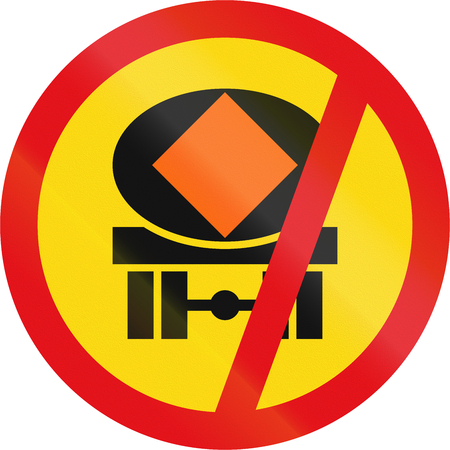 substances: Temporary road sign used in the African country of Botswana - Vehicles transporting dangerous substances prohibited.