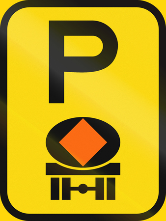 substances: Temporary road sign used in the African country of Botswana - Parking for vehicles transporting dangerous substances.