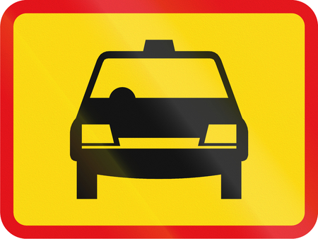 Temporary road sign used in the African country of Botswana - The primary sign applies to taxis.