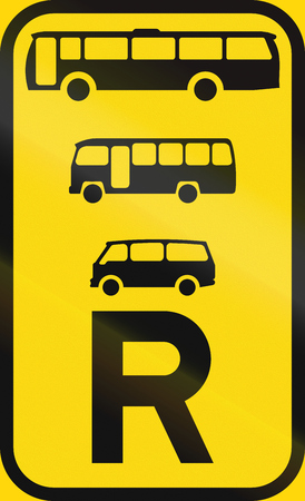 r transportation: Temporary road sign used in the African country of Botswana - Reservation for buses, midi-buses and mini-buses. Stock Photo